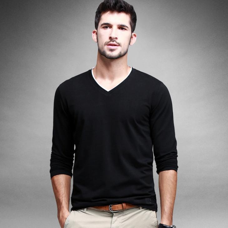 a540eb6b864 Ku Yi Gou Pin Pai Dian 1. Item  Long-sleeved v-neck solid colour long-sleeved  t-shirt. Colour  Black