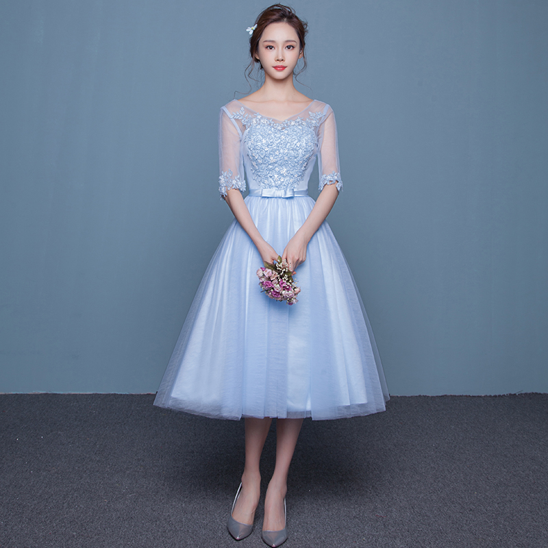 8cee0214bb Item 2  Knee-length mid-sleeved bridesmaid s dress with floral appliques.  Price  ¥ 198   SGD 40.09